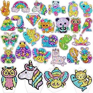 Zonon Gem Diamond Painting Kit for Kids, 24 Pieces DIY Diamond Painting Stickers, 4 Suncatchers and DIY Painting Tools to ...
