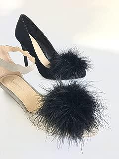 Detachable BLACK Feather Pom Pom Shoe Clips Set of 2