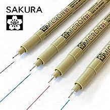Sakura Pigma Micron - Pigmento Portamina - Pack de 4-0.1mm - Negro, Azul, Rojo, y Verde