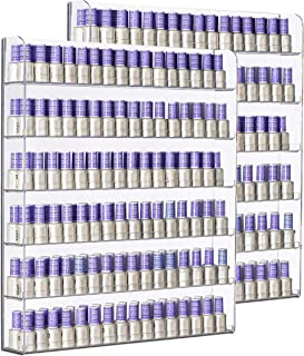 AMT 6 TIER Acrylic Nail Polish Rack, Holds up to 384 BOTTLES, CLEAR Nail Polish Display for the Wall, Young Living Essenti...