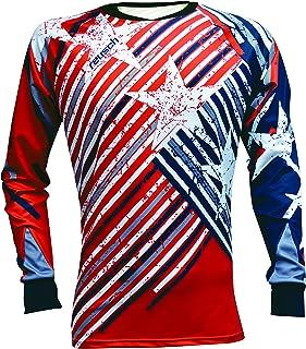 Reusch Soccer Patriot II Pro-Fit Long Sleeve Goalkeeper Jersey, Red/White/Blue, Adult Medium