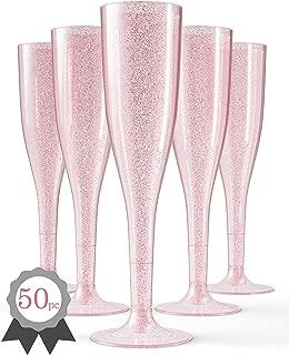 50 Rose Gold Plastic Champagne Flutes | Glitter Elegant Plastic Toasting Glasses | Luxurious Plastic Wedding Champagne Flutes | Plastic Champagne Flutes Bulk | Plastic Prosecco Glasses