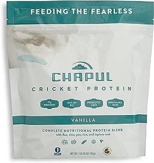 Chapul Cricket Protein Powder (Vanilla, 1 Pound) - 20g Complete Protein per Serving, High in Prebiotic Fiber, Low Sugar, 2 Net Carbs, Keto-Friendly
