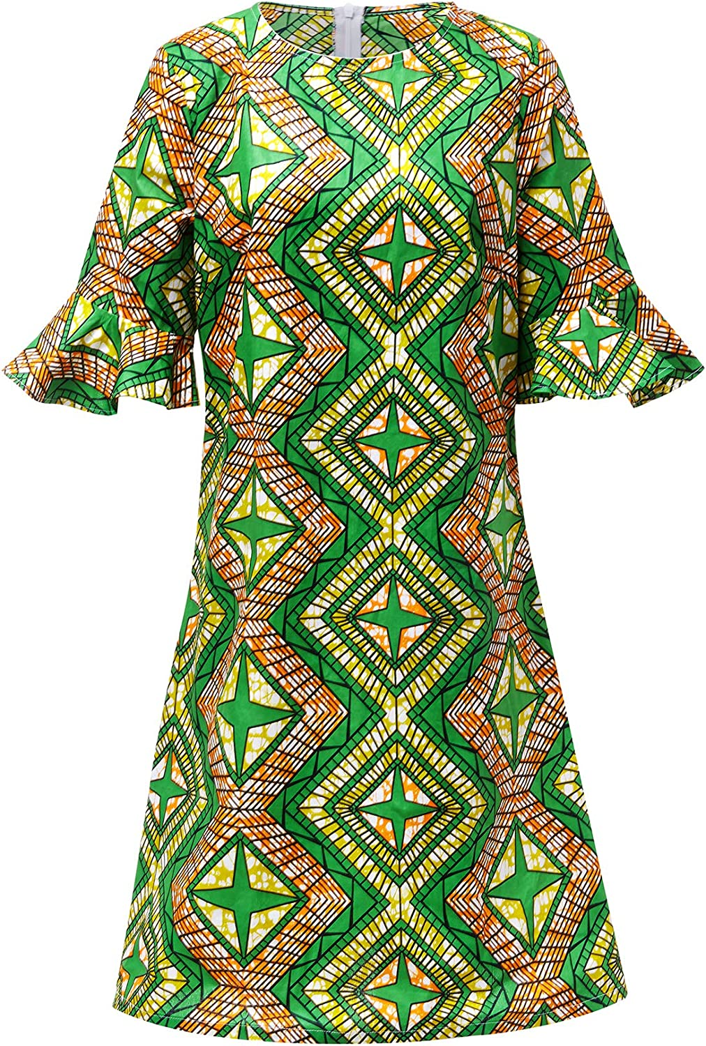 Aikaplus Women African Print Dress Dashiki Ankara Traditional Dresses