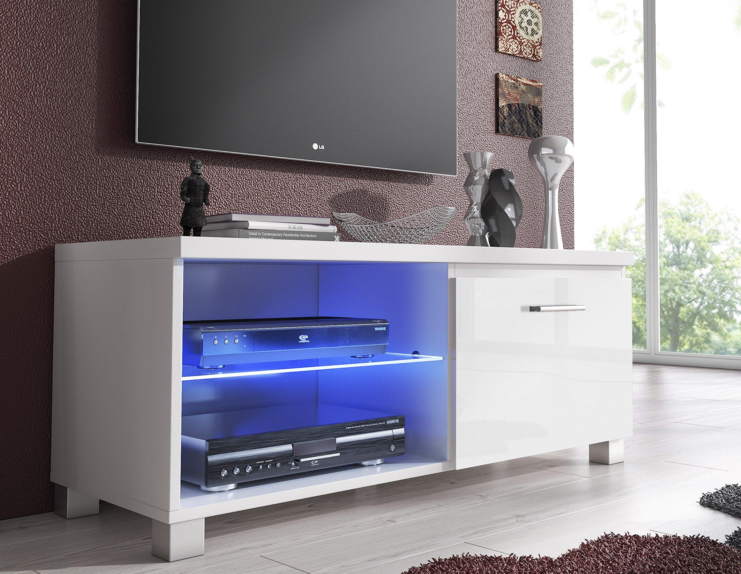 SelectionHome - Módulo salón Comedor TV, Color Blanco y Blanco Lacado Brillo, Medidas: 100 x 40 x 42 cm de Fondo: Amazon.es: Hogar