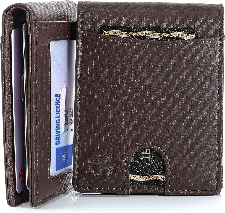 QS Men Slim front pocket wallets with money clip RFID blocking carbon fiber leather Bifo wallet with 2 ID window (Burgendy)