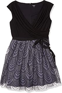 S.L. Fashions Women's Plus Size Solid Knit Top with Silver/Black Embroided Skirt