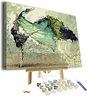 Paint by Numbers for Adults - Framed Canvas and Wooden Easel Stand - DIY Full Set of Assorted Color Oil Painting Kit and B...
