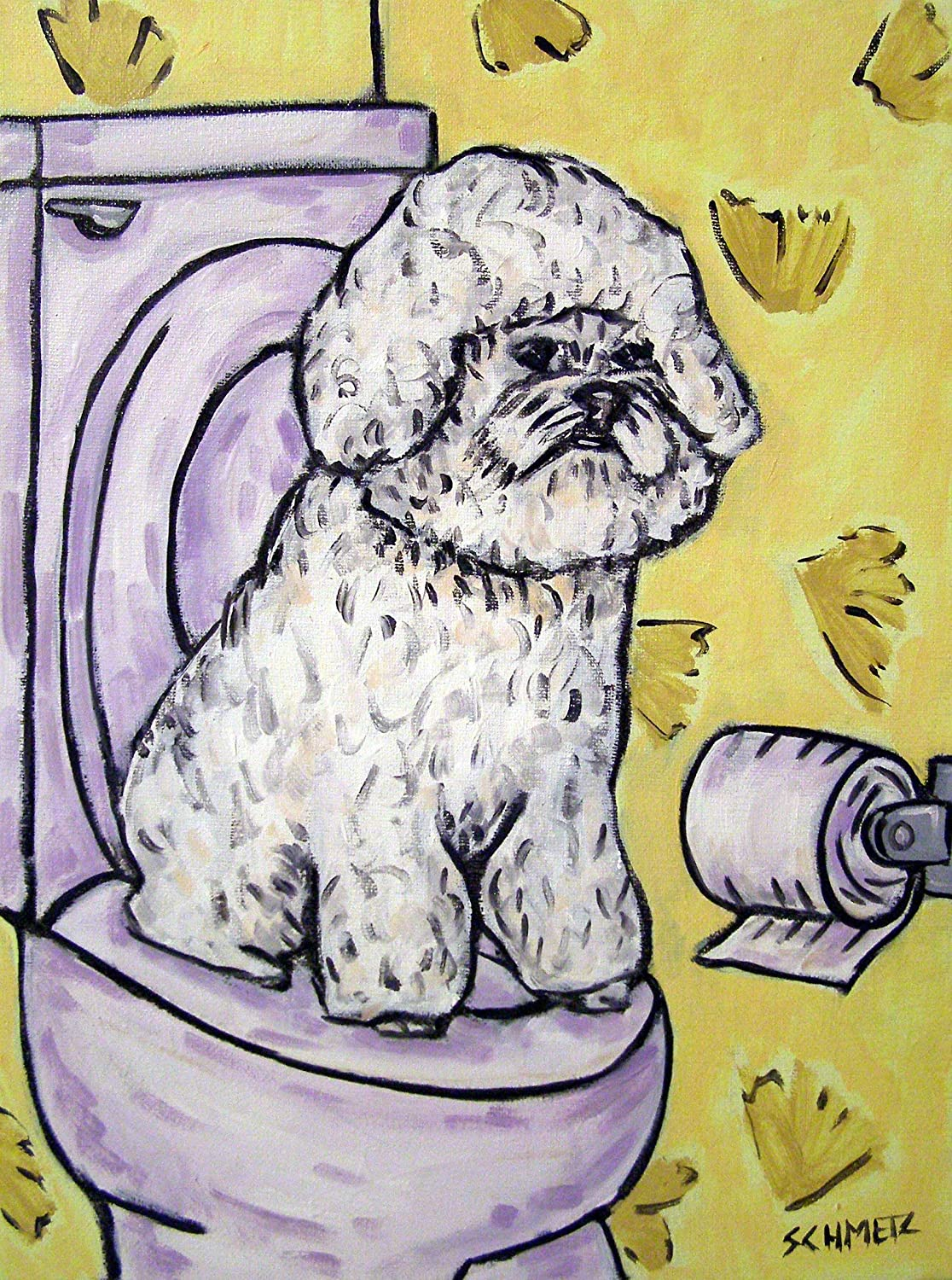 Bichon Frise in the Bathroom print A surprise price is realized dog art Super popular specialty store signed