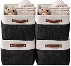 DECOMOMO Foldable Storage Bin Collapsible Sturdy Cationic Fabric Storage Basket Cube W/Handles for Organizing Shelf Nurser...
