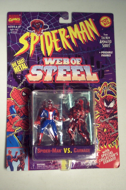 Toy Biz Spiderman Web Of Steel Die Cast Metal Collectible Figures  Spiderman vs Carnage