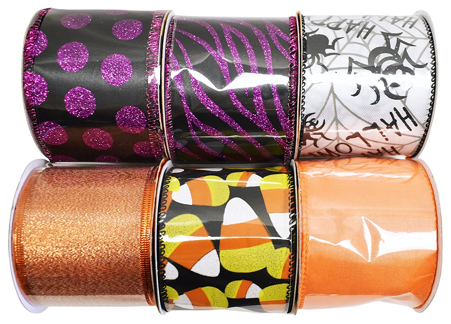 Set of 6 Halloween Wired Ribbon Rolls! 3 Yards of Ribbon Per Roll! Spooky Halloween Decorations Perfect for Classrooms, Schools, Parties and More! (6, Set 1)