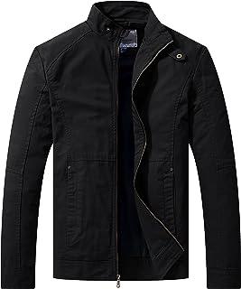 WenVen Men's Spring Lightweight Casual Full Zip Military Jacket