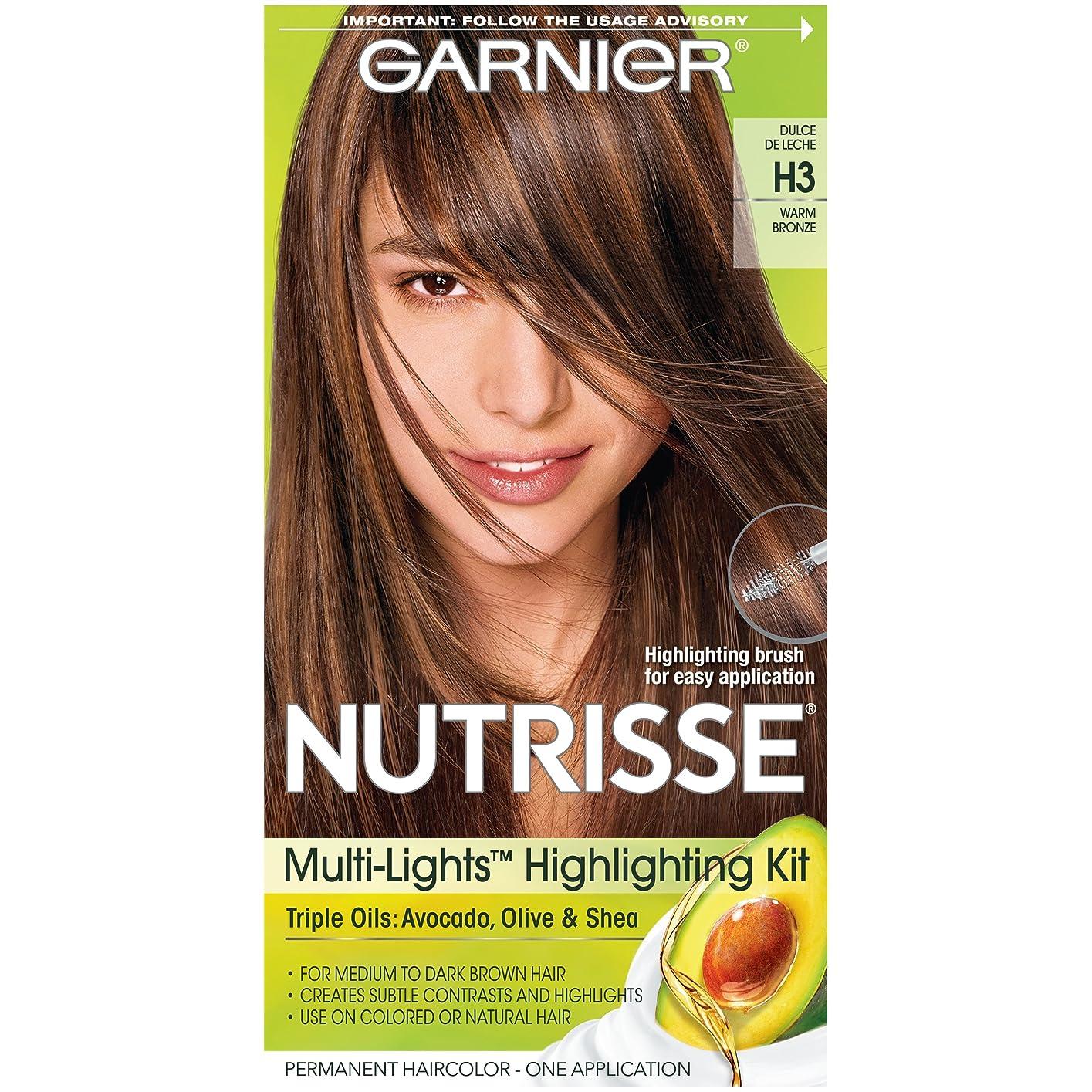 山岳複数知らせるGarnier Nutrisseナリシングヘアカラークリーム、H3ウォームブロンズ(梱包が変更になる場合があります)