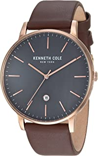 Kenneth Cole Men's Black Dial Genuine Leather Band Watch - KC50009002