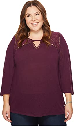 Lucky Brand - Plus Size Lace Mix Peasant Top