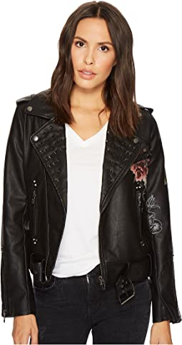 Blank NYC - Floral Vegan Leather Moto Jacket in Love and Leave