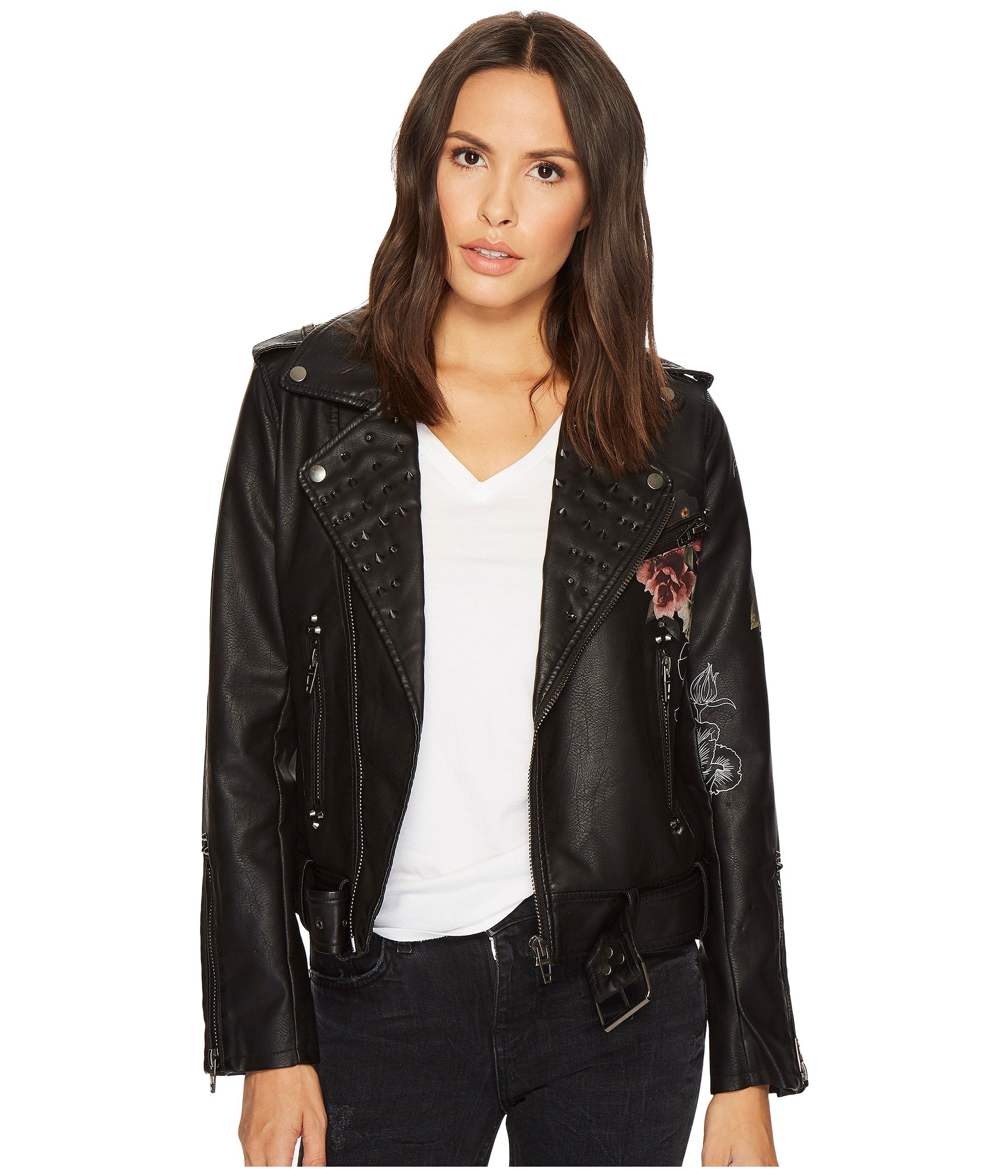 Floral Vegan Leather Moto Jacket in Love and Leave
