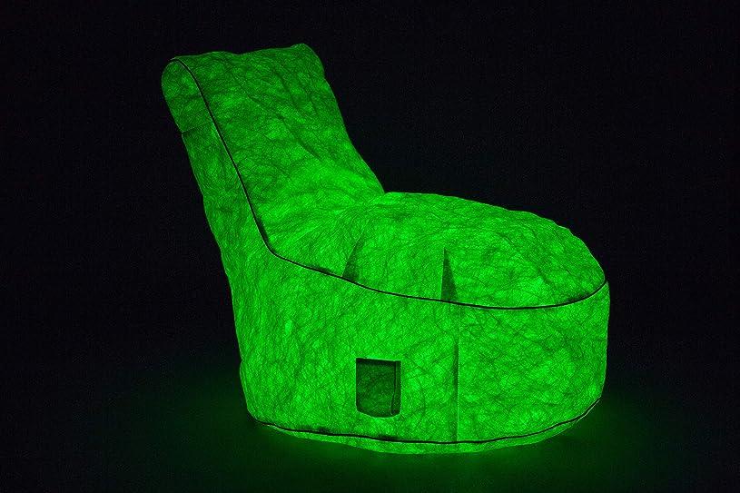 なめらかなジャンプする受信nullie 光る エアチェア エアソファ 1人掛け LEDインテリア 室内用 部屋装飾 アート家具 (グリーン, 背もたれ付き)