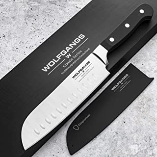WOLFGANGS hochwertiges Santoku Messer japanisch - Sushi Messer extrascharfe rostfreie Premium-Klinge - Santokumesser aus deutschem Hochleistungsstahl - Japanisches Messer - Santoku japanisch schwarz