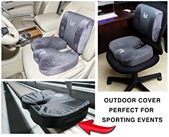 Cool Gel Memory Foam Seat Cushion with Rain Cover and Lumbar Support Pillow for Office Chair and Car Seat Cushions - ...
