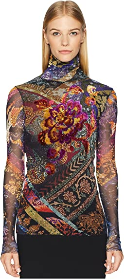 Long Sleeve T-Neck with Embroidery