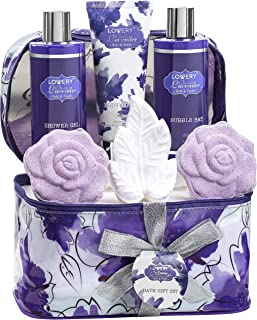 Bath and Body Gift Set For Women and Men – Lavender and Jasmine Home Spa Set With Rose Soaps, Double Sized Bath Bombs, Reusable Travel Cosmetics Bag and More
