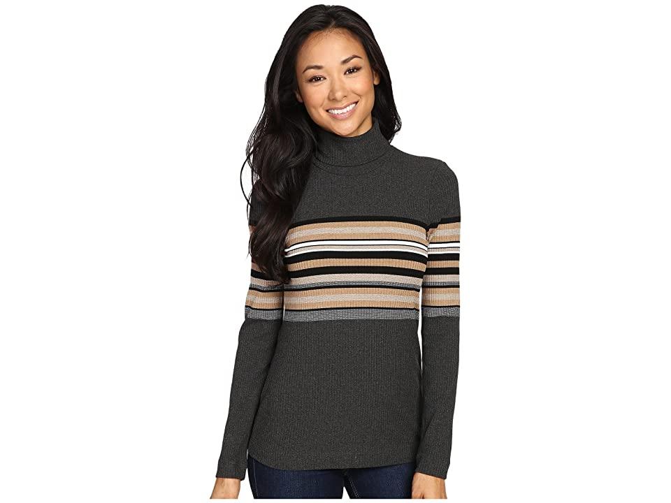Three Dots Norma Long Sleeve Turtleneck (Charcoal Combo) Women