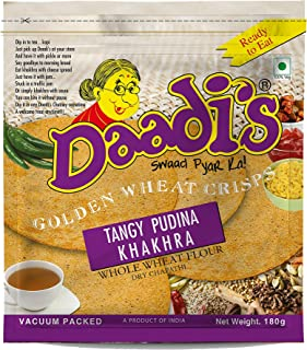 Daadi's Golden Wheat Crisps Tangy Pudina Khakhra (Pack of 3)