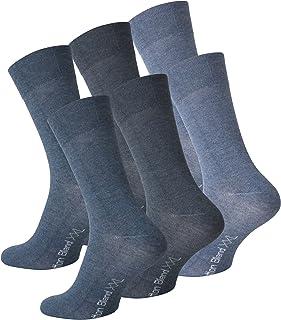 6 pares de calcetines Hombre de gran tamaño XXL, Jeans azul