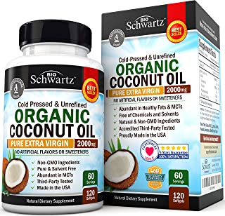 Organic Coconut Oil - Healthy Skin, Nails, Weight Loss, Hair Growth - Virgin, Cold Pressed, Unrefined Non GMO - Rich in MC...