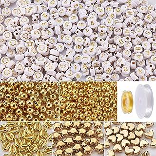 Pandahall 1200Pcs Mixed Pattern Flat Round Acrylic Beads 490Pcs Mixed Shape CCB Plastic Beads Flat Elastic Crystal String ...