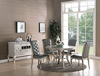 Formal Luxurious 5pc Dining Set Antique Silver Finish Upholstered Tufted Chairs Round Dining Table Kitchen Dining Room Furniture