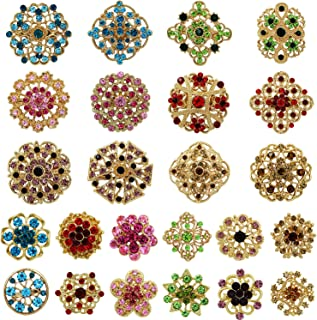 Mutian Fashion Lot 24pc Mixed Color Rhinestone Crystal Flower Brooches Pins