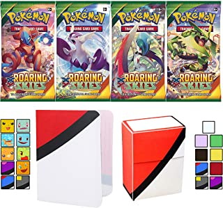 Totem World 4 XY Roaring Skies Booster Packs with a Totem Deck Box & Mini Binder Collectors Album for Pokemon Cards GX Rare Holo Common or Uncommon TCG