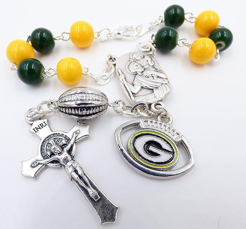 Single Decade St. Christopher Sports Team Auto Rosary - Green Bay Pro Football Catholic Rosary Beads