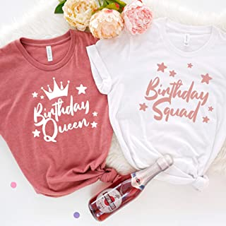 Birthday queen and squad t-shirt / 30th, 40th, 50th, 60th, 70th, 80th, 90th, 100th party girl and squad tshirt