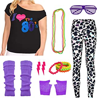 Plus Size Women`s I Love The 80s Tshirt Leggings 1980`s Costume Accessories Set