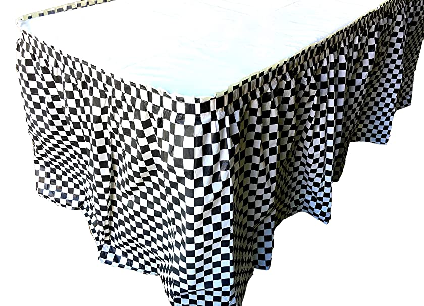 Playscene Plastic Black & White Checkered Flag Pleated Table Skirt Party Decoration (Checkered Black & White, 1)