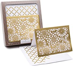 Hallmark Signature Blank Cards (Gold Flowers, 8 Cards with Envelopes)