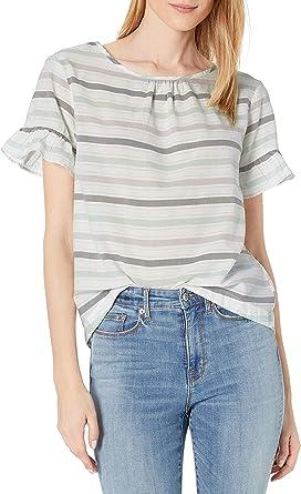 Amazon Brand - Goodthreads Women's Lightweight Cotton Dobby Flutter-Sleeve Crewneck Woven Tee, Navy/White Mini-Dot Print, X-Large