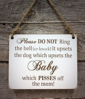 Baby Sleeping Do Not Disturb Sign - Pisses off the Mom - (Single) Dog Do Not Disturb Sign - Baby Sleeping Sign - Baby Shower Gift