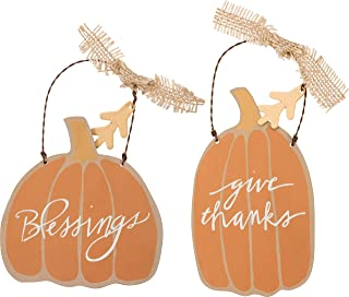 Primitives by Kathy Thanksgiving Decor - Give Thanks Blessings Tin Pumpkin Ornaments #31658