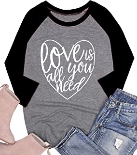 UNIQUEONE Love is All You Need Shirt for Women Valentine's Day Love Heart Graphic Baseball Tee 3/4 Sleeve Raglan Tops