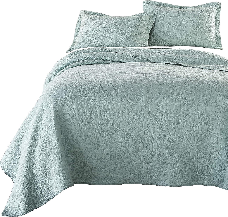 Chezmoi Collection Melissa 3-Piece Vintage Floral Paisley 100%-Cotton Quilt Set (King, Green)