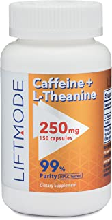LiftMode Caffeine 100mg + L-Theanine 150mg Capsules (150 Count) Pills/Capsules | for Better Mood, Focus, Energy #Top Nootr...