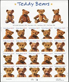 TEDDY BEAR POSTAGE STAMPS (Scott #3656) Pane of 20 x 37¢ US Postage Stamps