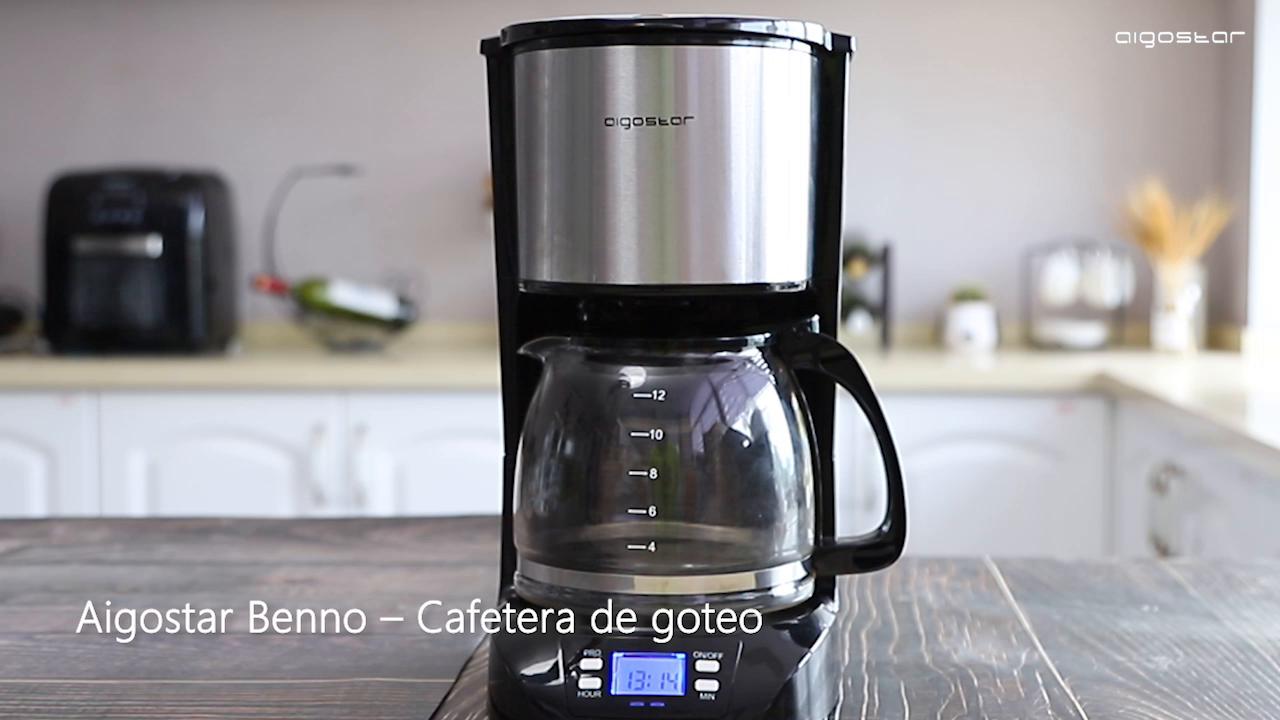 Aigostar Benno 30QUJ - Cafetera de goteo, filtro reutilizable, pantalla LCD, 800W, programador 24 horas, capacidad 1,5 litros, sistema anti-goteo, función mantener caliente. Libre de BPA: Amazon.es: Hogar