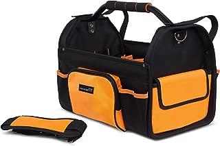 Internet's Best Open Top Tool Bag | Rigid Frame Tote Tool Box | 16 Pocket Hard Utility Tool Bin | 17 Inch