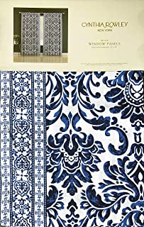 Cynthia Rowley Set of 2 Window Panels Rod Pockets Curtains Blue Floral Damask Medallion Pattern with Geometric Border - 42 Inches by 96 Inches